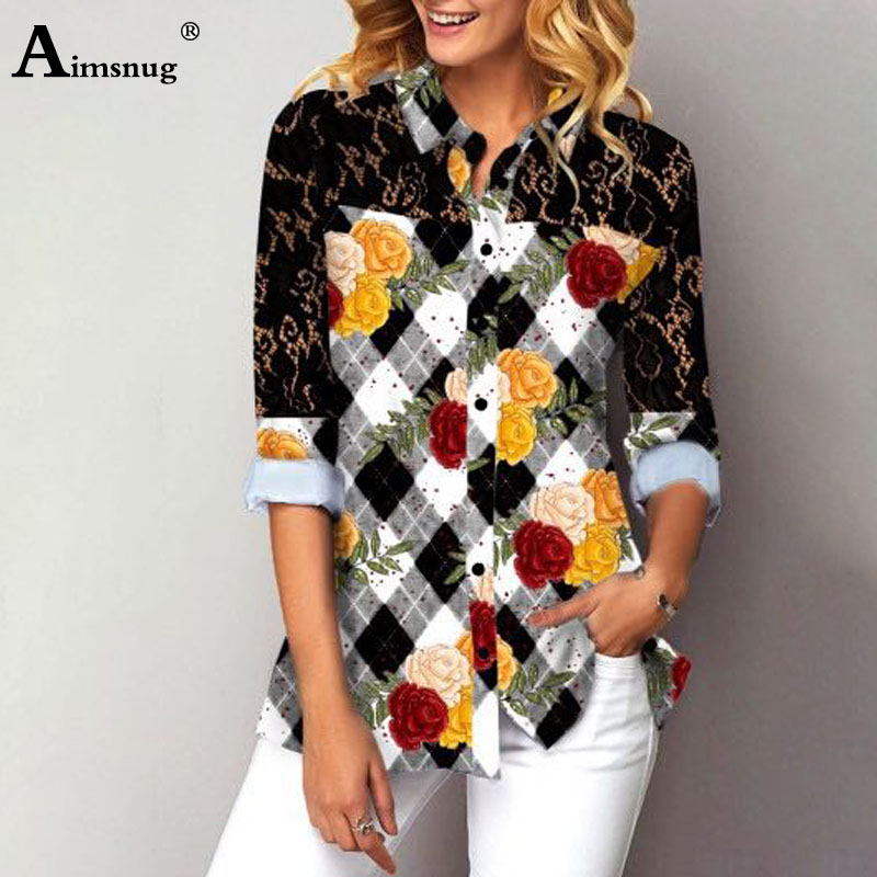 Plus Size 4xl 5xl Women Blouse Splice Lace Nine Quarter Sleeve Single-Breasted Tops 2020 Summer Floral Print Female Blusas Shirt
