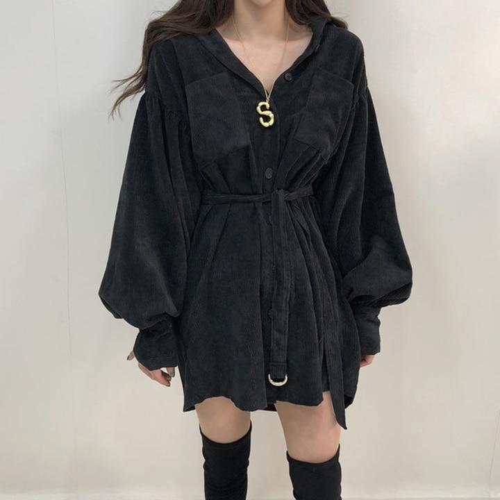 H8aa483ae33b242c68383f15c30e41902B - Autumn / Winter Turn-Down Collar Long Sleeves Corduroy Solid Mini Dress