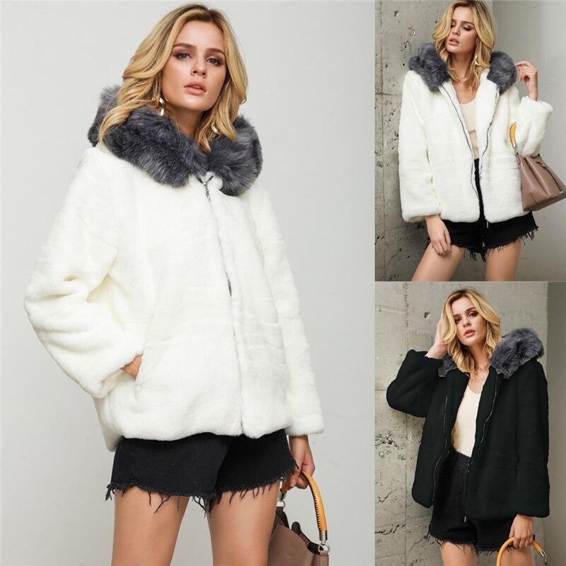 Women Zipper Faux Fur Coat Solid Outerwear Cardigan Loose Hooded Pocket Top