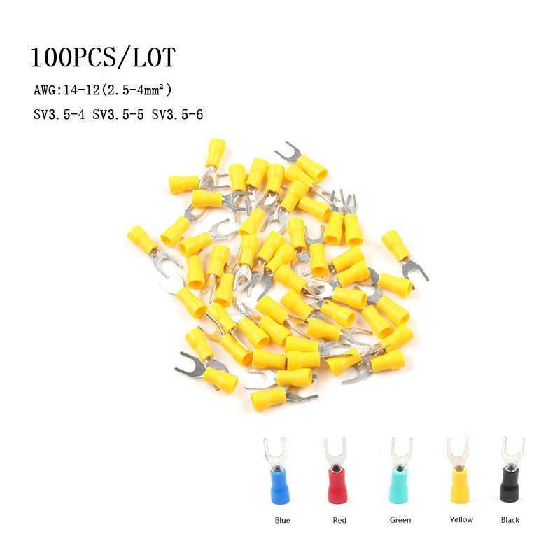 100PCS/Bag SV3.5-4 SV3.5-5 SV3.5-6 Insulated Wiring Terminals Insulating Sleeve Furcate Terminals Cable Lug Connector AWG 14-12