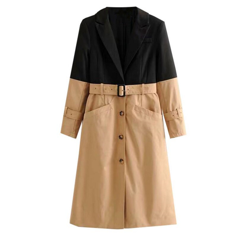 2019 Chic New Autumn Notched Collar Contrast Color Long Windbreaker With Sashes Vintage Women Belt Trench Slim Fit Elegant Coat