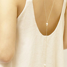 Long Pearls Pendant Chain Necklace Gold Silver Long Chain Back Necklace Fashion Jewelry For Women Girls Gift(China)