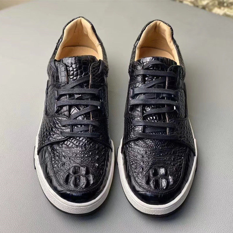 Authentic Real Crocodile Skin Men's Casual Walking Sneakers Genuine Alligator Leather All-match Male Black Lace-up Driving Flats