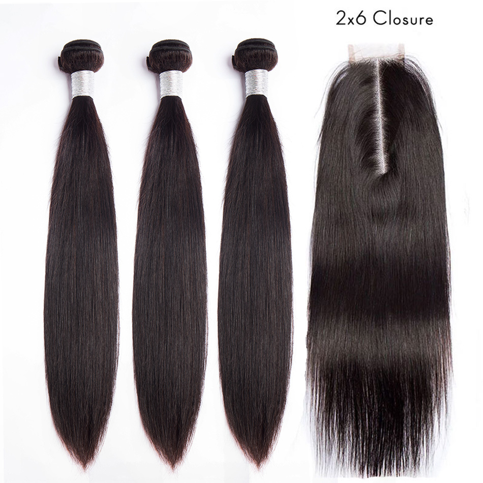 ALIBELE Straight Hair Bundles With 2x6 Closure Remy Human Hair Long Part Lace Closure With Brazilian Hair Weave 3 Bundles-in 3/4 Bundles with Closure from Hair Extensions & Wigs    1