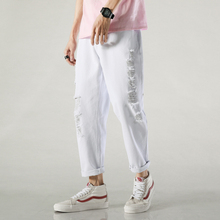 Летние белые джинсы мужская мода случайный разорвал брюки мужчины свободные хип-хоп уличная Дикий отверстие джинсовые брюки Мужские 28-36