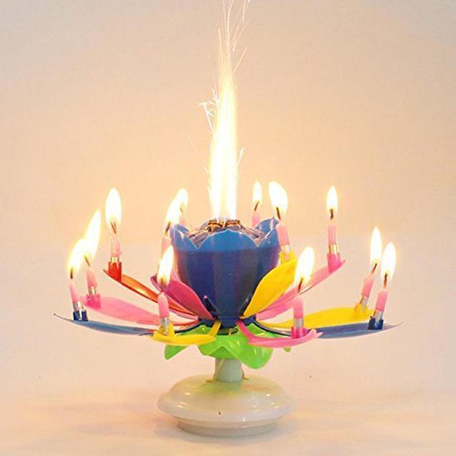 TPFOCUS podwójna warstwa Lotus muzyczne szczęśliwe świeczki urodzinowe romantyczne światło w kształcie kwiatów ciasto okazjonalne prezenty dla dzieci muzyka dekoracje weselne