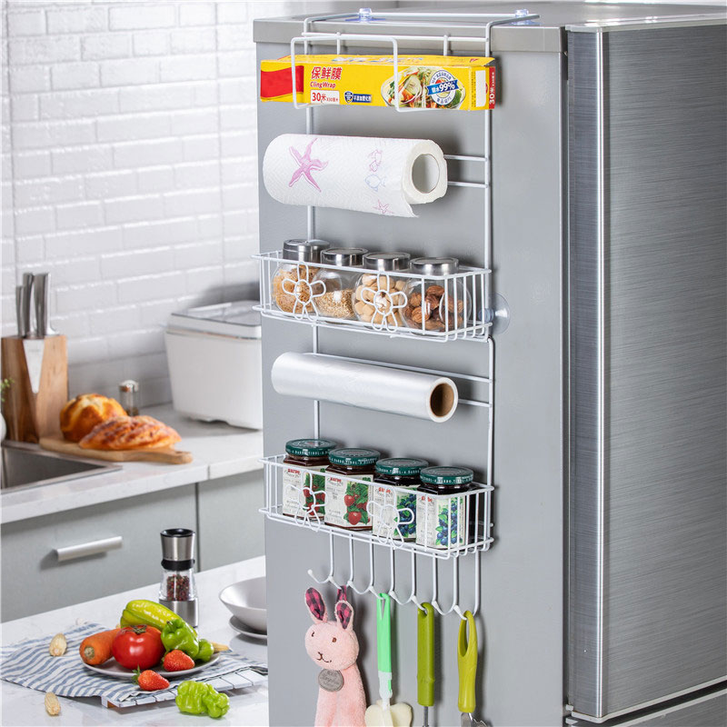 Kitchen Multifunction Refrigerator Storage Rack Organizer Shelf Space Saver Fridge Side Wall Storage Hanging Holder White Large