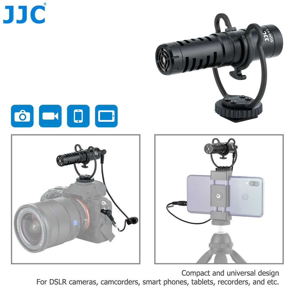 Cardióide para Dslr Câmeras de Vídeo Microfone para Vloggers Microfone Câmera Mirrorless Telefones Tablets Gravadores Entrevista Jjc