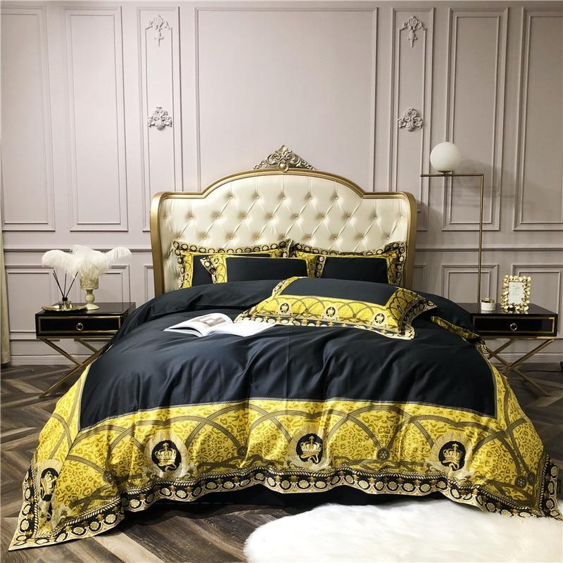 Luxury Duvet  Set With Bedding Items 1000 TC Egyptian Cotton All Size Black
