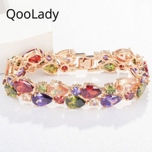 QooLady Austrian Crystal Luxury Designer Jewelry Multicolor CZ Yellow Gold Large Party Bangle Bracelet for Women S007