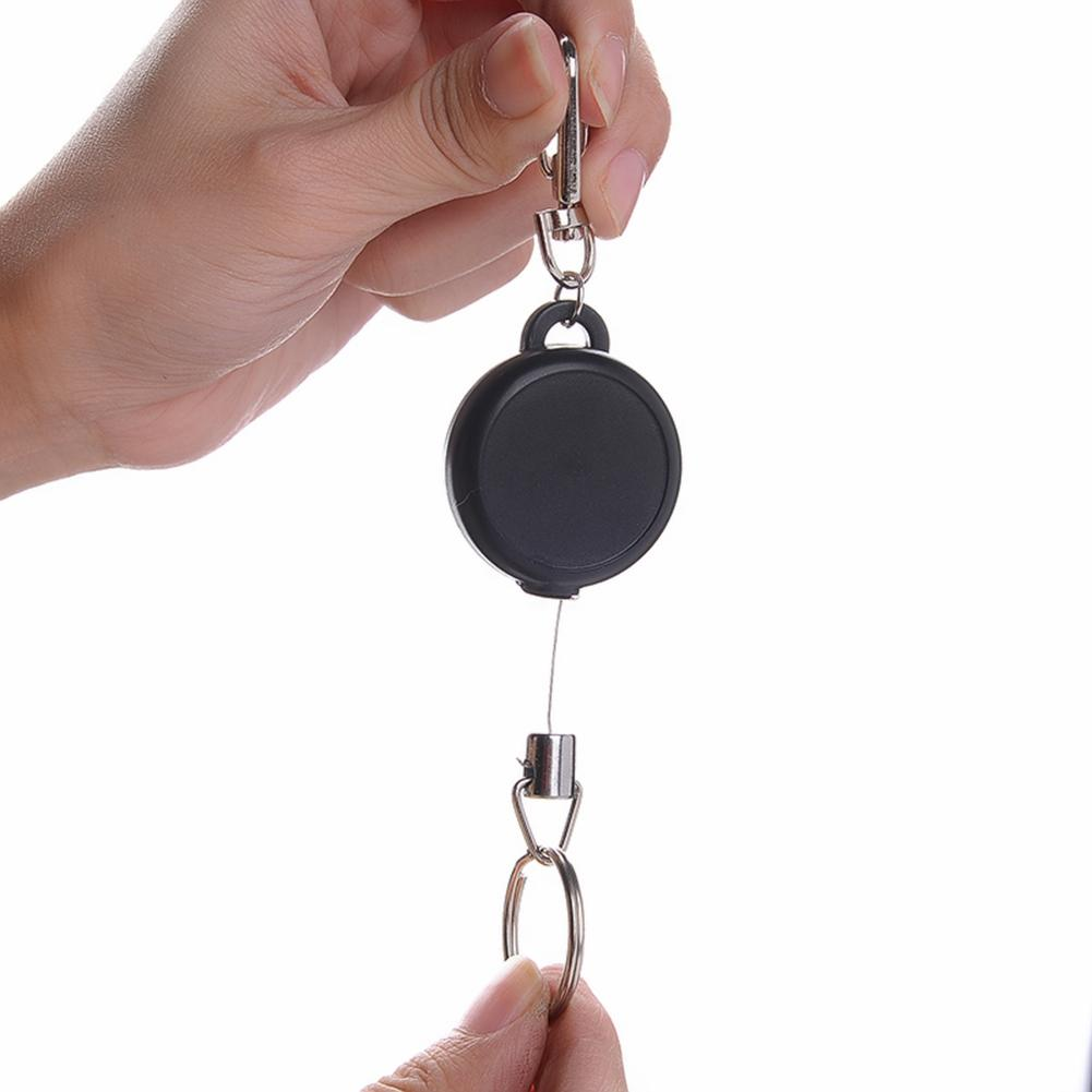Retractable Metal Key Chain Stainless Steel Wire Rope  Camping Telescopic Burglar Chain Key  Holder Tactical Keychain