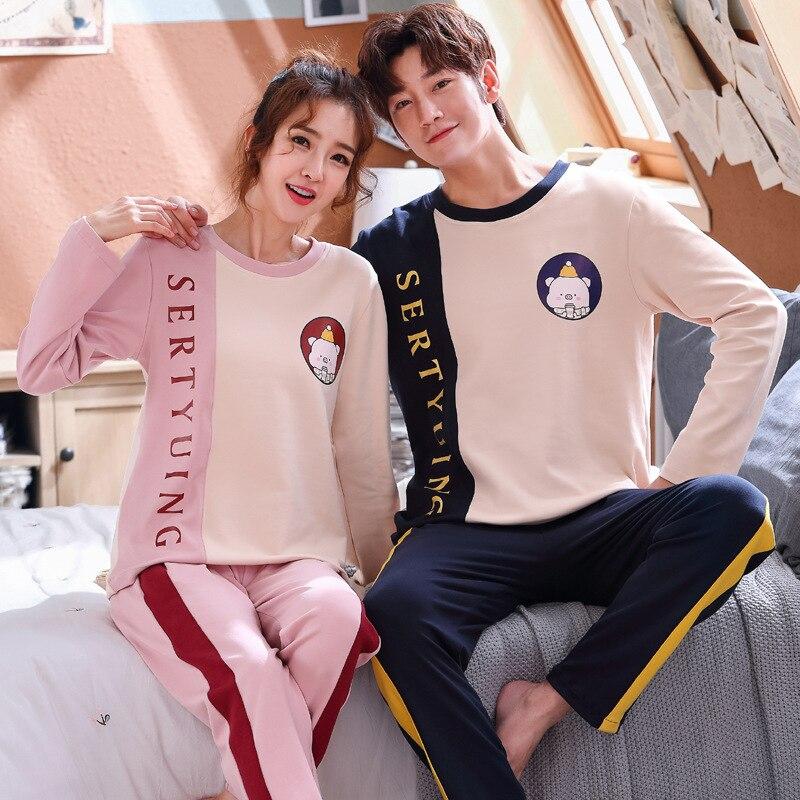 Wontive Men Pyjamas Suit Autumn Plus Size Sleep Clothing Cotton Casual Nightie Sleepwear Couple Pajamas Long Sleeve Pijama
