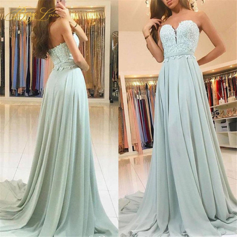 Light Green Sage Long Bridesmaid Dresses 2019 Sweetheart Appliques Chiffon Bridal Group Maid Honor Dresses Weddings Guest Gown