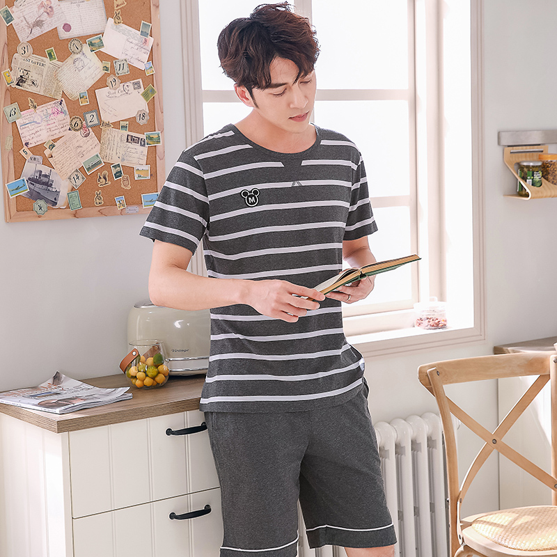 2019 Summer Casual Striped 100% Cotton Pajama Sets For Men Short Sleeve Sleepwear Male Homewear Pyjama Lounge Night Suit Clothes