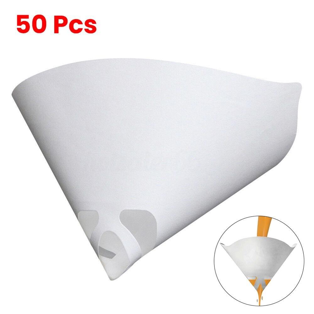 50 шт. фильтровальная бумага для очистки краски, стаканчик для фильтрации, воронка, одноразовая бумага, 100 сетчатая краска, сетка, коническая ...
