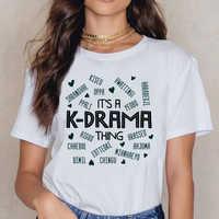 Tops T Shirt Women Its A Kdrama Thing Korean Words Tee Womens 34 Sleeve Hip Hop Vintage Cotton Female Shirt