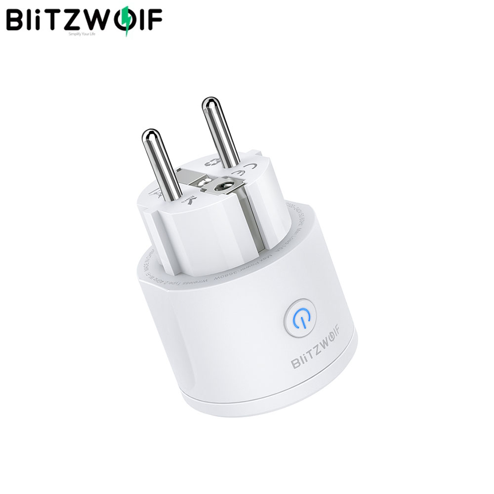 BlitzWolf BW-SHP10 3680W 16A WIFI Smart Socket APP Remote Control Timing Electricity Monitor Work With Alexa Google Assistant