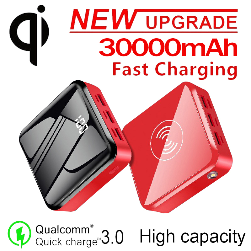 Power Bank 30000mAh QI Wireless Portable Charger Battery Charging LED Lighting Digital Display Built in Wireless Mobile Power Power Bank    - AliExpress