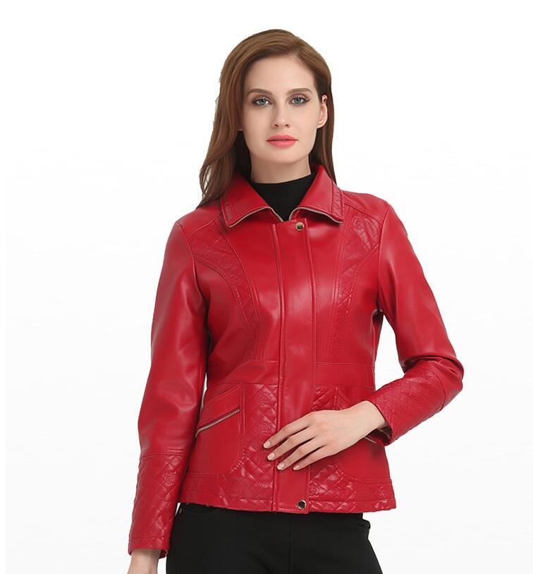 Flame horseEuropean Style O Neck PU   Leather   Jacket New Fashion Motorcycle   Leather   Outwear Women Slim Biker Coat Basic Streetwear