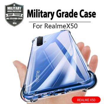 Перейти на Алиэкспресс и купить Ударопрочный чехол для OPPO Realme X50 X50M, силиконовые чехлы для телефонов с 5g, задняя крышка для Realme X50 Pro, 5g