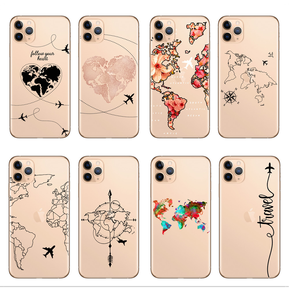World Map Travel Plans Clear Soft TPU Phone Case For iPhone X XS Max 7 8 6 Plus XR Cases For Coque iPhone 11 Pro Max Phone Cover