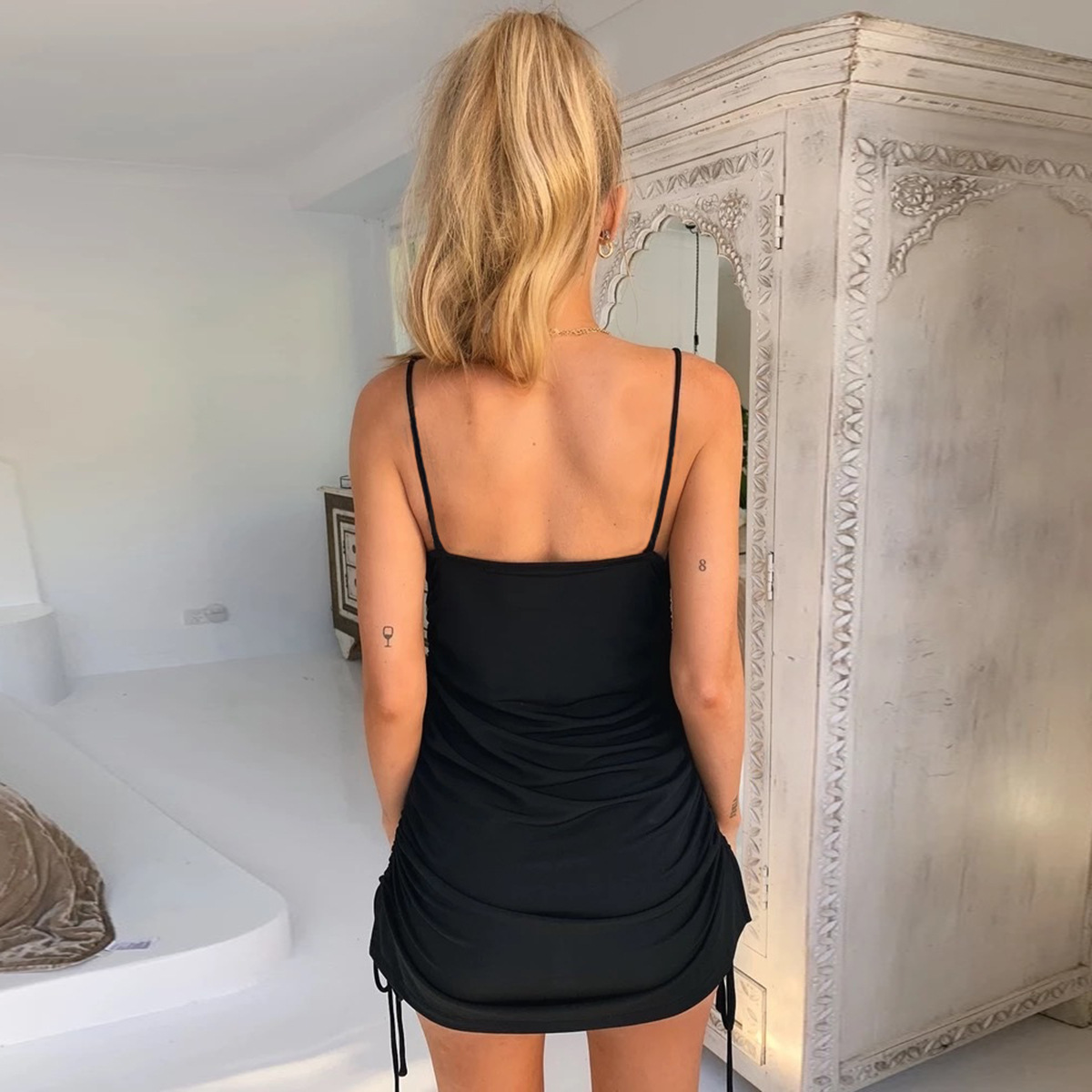 Missufe Strap Sleeveless Dress Women Autumn Ruched Bandage Dresses Woman Party Night Drawstring Mini Vestidos Red Backless Robe in Dresses from Women 39 s Clothing