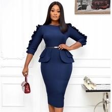 Midi Dresses Work Office Elegant Ladies Bodycon Autumn Women Plus-Size Fashion Spring