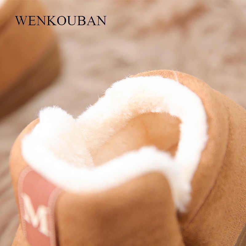 Kadın kış bileğe kadar bot sıcak peluş süet kauçuk düz çizmeler rahat kar platformu çizmeler bayanlar kapalı Botas Mujer Invierno 2019