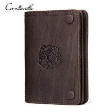 CONTACTS Men Wallets Brand Design Crazy Horse Genuine Leather Male Short Wallet Hasp Mans Purse With Coin Pockets Card Holders