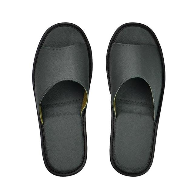 Genuine Cow Leather slippers couple indoor non slip men women home fashion casual single shoes TPR soft soles spring summer