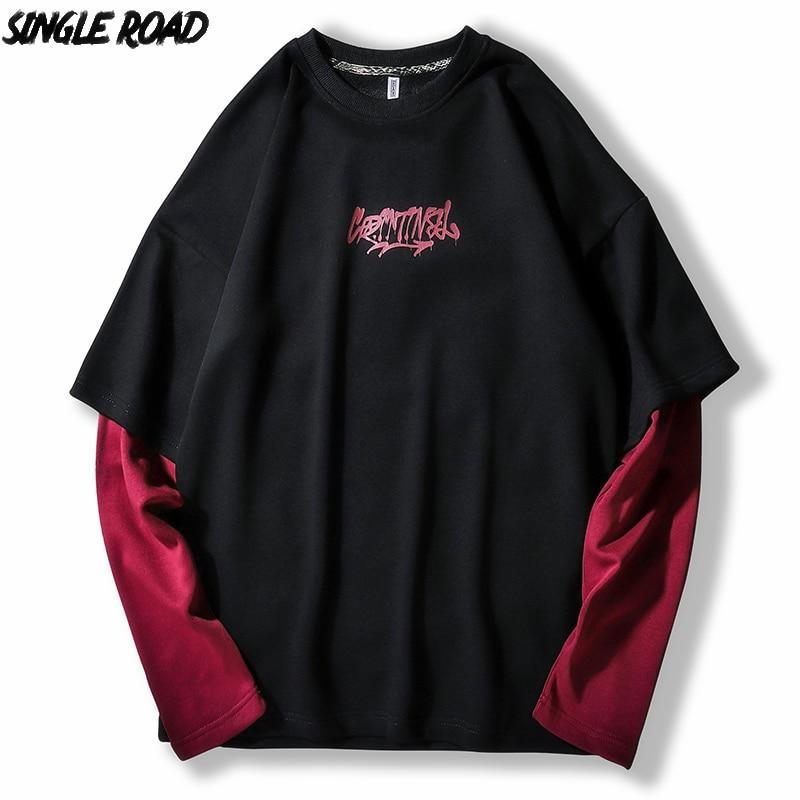 SingleRoad Men's Oversized Crewneck Sweatshirt Men 2020 Patchwork Hip Hop Japanese Streetwear Black Hoodie Men Sweatshirts Male