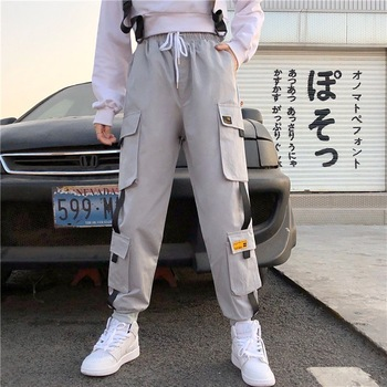Big Pocket Plus Size S-5XL Black Cargo Pants Women High Waist Korean Pants Joggers Women Loose Casual Trousers Streetwear women high waist loose joggers drawstring streetwear cargo pants solid big pocket causal pants punk trousers