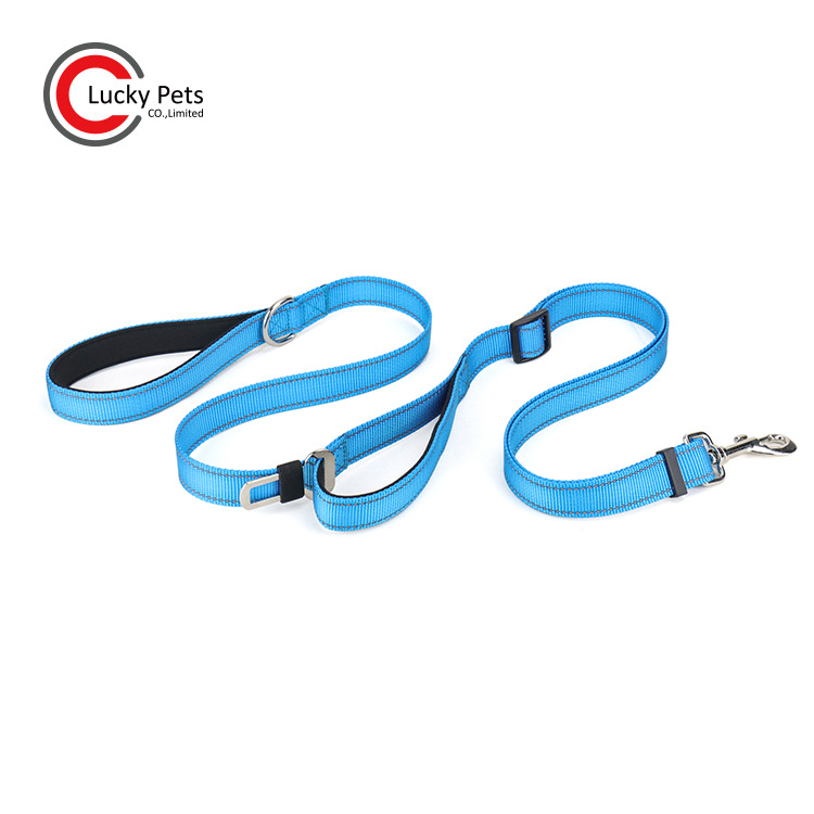 New Style Multi-functional Reflective Nylon Pet Running Hand Holding Rope Double Handle Dog Traction Belt Safety Buckle