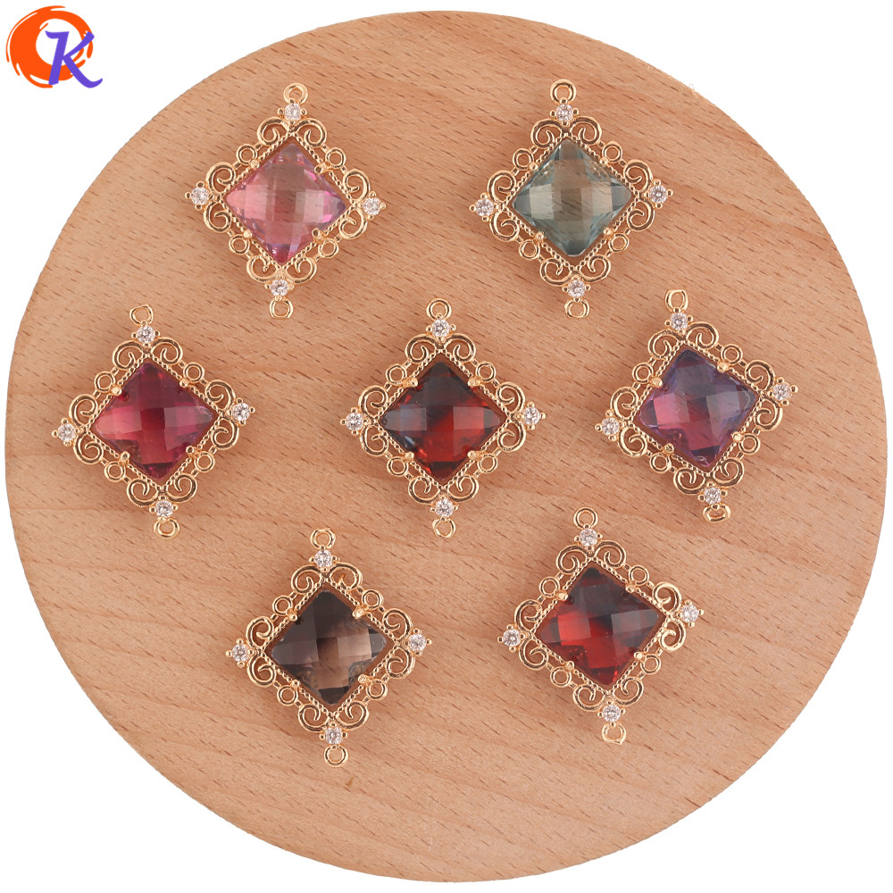 Cordial Design 30Pcs 23*27MM Jewelry Accessories/Crystal Charms/Hand Made/Square Shape/DIY Making/Connectors/Earring Findings