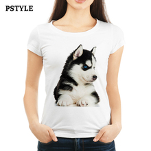 Original Pstyle Brand T-shirt Women Kawaii Husky Dog Print T shirt Summer Short White Animal Printed tshirt Dropshipping