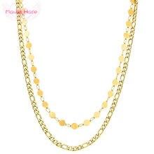 Mavis hare europa estilo básico corrente colar de aço inoxidável dupla camada gargantilha colar como presente da mulher
