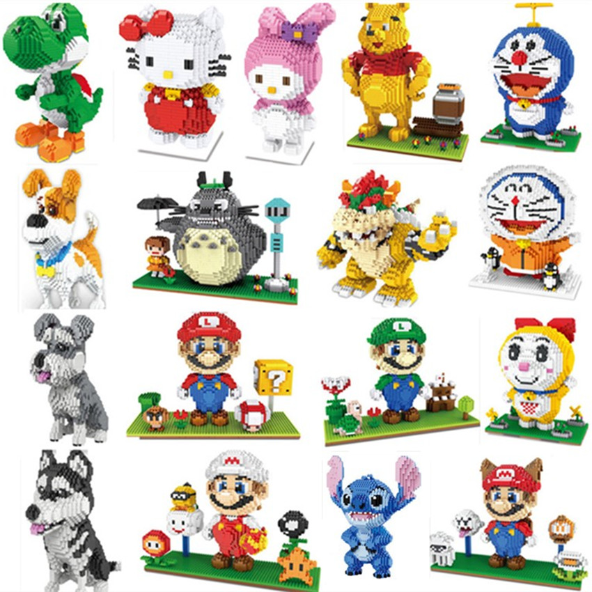 Mini Blocks Totoro Big Size Cute Mario Stitch Sence Model Bricks Luigi Assembly Brinquedos Kids Gifts Doraemon Toys For Children