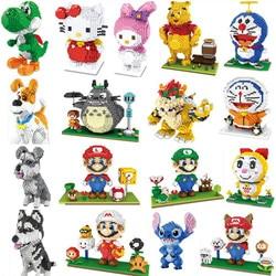 Mini klocki Totoro duże rozmiary śliczne Mario Stitch Sence klocki Luigi montaż Brinquedos prezenty dla dzieci Doraemon zabawki dla dzieci