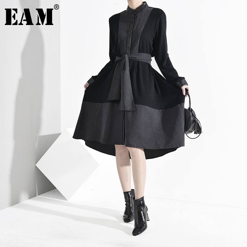 [EAM] Women Black Pu Leather Bandage Asymmetrical Dress New Stand Collar Long Sleeve Loose Fit Fashion Spring Autumn 2020 A809