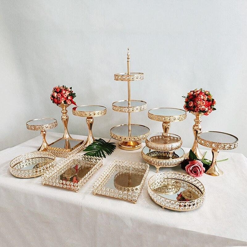 Gold Antique Metal Cake Stand, Round Cupcake Stands, Wedding Birthday Party Dessert Cupcake Pedestal/Display/Plate