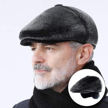 Winter Faux Fur Newsboy Hat With Earflaps Beret Dad Hat for The Elderly Peaked Cap Winter Warm Hats for Old Men Flat Cap image