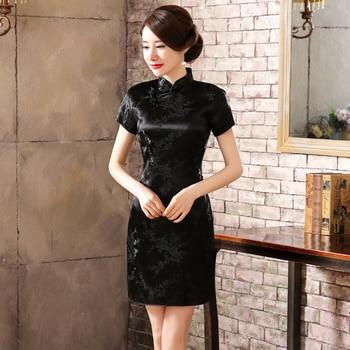 Sexy Slim Black Mini Women Qipao Traditional Chinese Classic Flower Cheongsam Vintage Button Vestidos Dress Plus Size