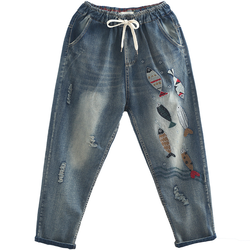 2019 Spring New Style-Literature And Art Hand-Painted Fish Embroidered Lace-up Washing Frayed Capri Jeans WOMEN'S Pants
