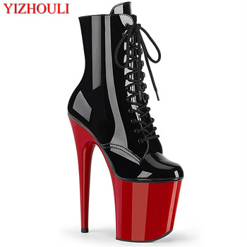 8 inches, model stage ankle boots, 20 cm stiletto heels, bright face sexy princess pole dancing, beautiful dancing shoes image