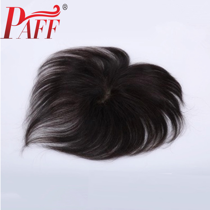 PAFF Peruvian Human Hair Toupee For Men and women Lace With NPU Replacement System Cover white Hair Natural Straight with Clips