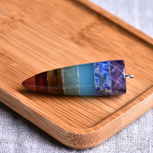 1PC Natural Crystal Quartz Mineral Jewelry Colorful Bullet Pendant Seven Chakras Aura Point Couple Decoration DIY Gift