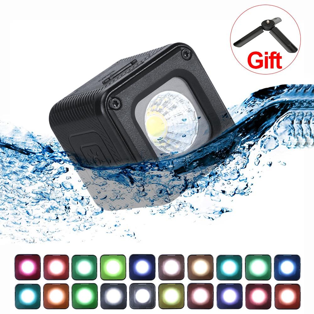 Impermeable dji Osmo Pocket Osmo Action Gopro 7//6//5 Sony c/ámara DSLR 10 m Mini luz LED vers/átil iluminaci/ón LED de Aventura para Smartphone L1 Pro 20 filtros de Color