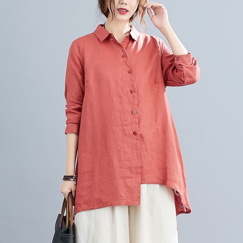 Oversized Women Cotton Linen Long Shirts New 2020 Autumn Vintage Turn-down Collar Female Long Sleeve Loose Casual Tops S1670 Women Women's Blouses Women's Clothings cb5feb1b7314637725a2e7: Dark|Light blue|Orange|Red