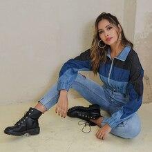 JYSS streetwear autumn short blue denim coats women veste femme patchwork gradient manteau outwear 20028