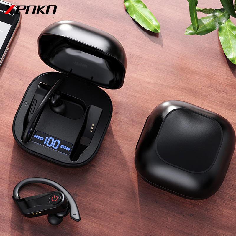 XPOKO TWS Bluetooth Earphone with Dual Microphones Ear Hook Wireless Headphone Bluetooth 5.0 With 950mAh Charging Case For Phone